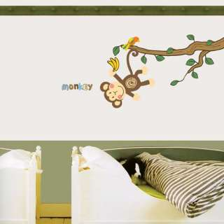 new WALL DECO STICKER MONKEY TREE NURSERY KIDS DECALS