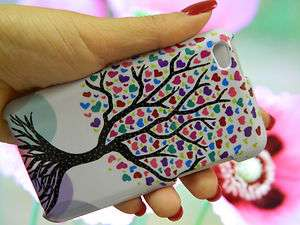 4th Gen HARD SnapOn Case Cover   White Love Tree Rainbow Hearts