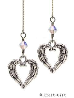 Angel Wing Heart Sterling Silver Ear Thread Threader Earrings