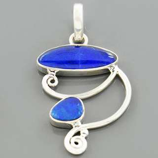 Rare Australian Blue Opal Gemstone 925 Sterling Silver Pendant Jewelry