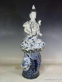 RARE CHINESE BLUE WHITE PORCELAIN KWAN YIN 26 H