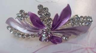 Clear SWAROVSKI CRYSTAL Floral HAIR BARRETTE CLIP 7