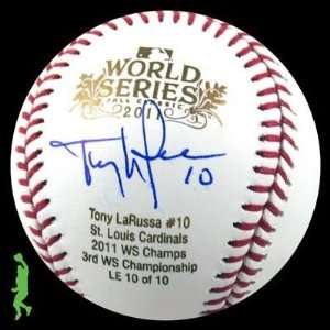 Tony Larussa Signed Auto 2011 World Series Ws Baseball Ball Cardinals