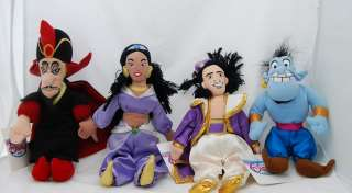 NWT 4  Aladdin Bean Bag Plush Toy Dolls Set