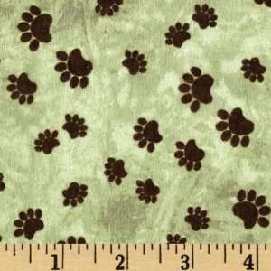 44 Wide Comfy Flannel Bear Paw Prints Wilderness Green