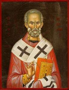 Greek Wood Icon St Nicholas Saint The WonderWorker 8