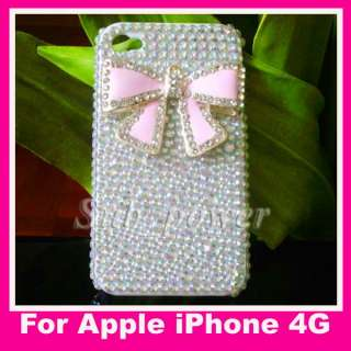Pink BOW Bling Crystal back Case cover for iPhone 4 4G 4th B28