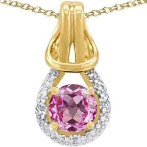 Gold Lab Created Round Pink Topaz and Diamond Pendant(Me Jewelry