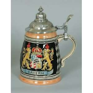 7.5 Inch Crown With Lions Ceramic Beer Stein Kitchen