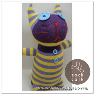 Yellow Striped Sock Monkey Cat Stuffed Animals Doll Baby Toy