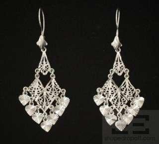Designer 14K White Gold Filigree Drop Earrings