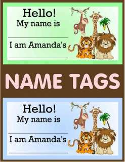 JUNGLE BABY SHOWER NAME TAGS PARTY FAVORS