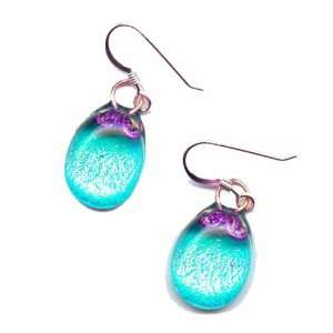 Crafted Artisan Fused Art Glass Earrings   Golden Pink, Aqua Glass