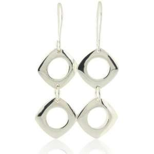 Silver Cushion Double Drop Earrings Designer Inspired Silver Jewelry