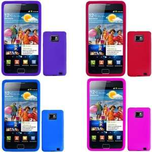 Hot Pink + Solid Purple + Solid Red Silicone Skin Case Faceplate Cover