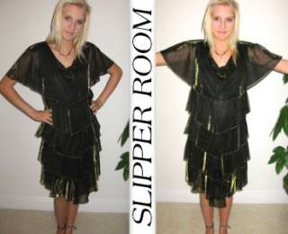 Vtg PATRA party layered tiered dress chiffon sheer origami prom party