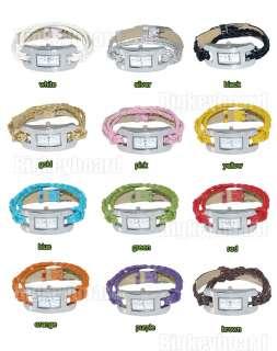 Strap Woven Knit Thin Bracelet Quartz Wrist Watch Lady Girl