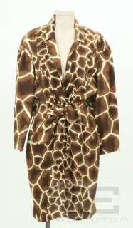 Thierry Mugler Brown & Cream Animal Print Silk Shirt Dress Size 44