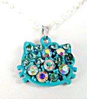 Necklace Sterling Silver 925 Hello Kitty Turquoise Blue