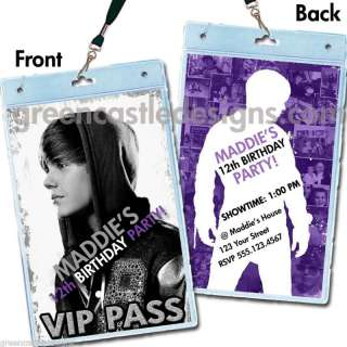 Justin Bieber Birthday Party Invitations Favors VIP