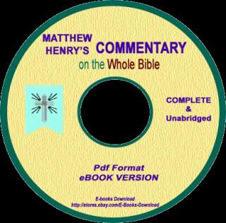 Matthew Henry Commentary of the Bible 6 vols (ebook CD)