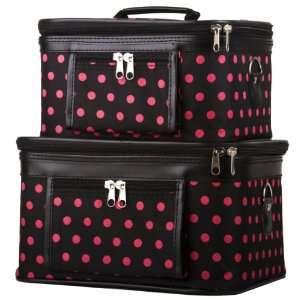Black Pink Polka Dot Makeup Train Case Box   Set of Two
