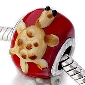 Brown Turtle Red Murano Glass Beads Fits Pandora Charm Bracelet