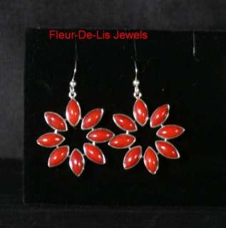 Jay King MINE FINDS Red Coral Earrings Sterling Silver