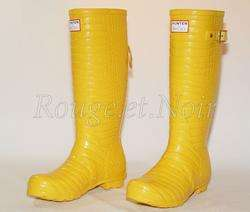 SALE HUNTER & JIMMY CHOO yellow croc rubber boots 38