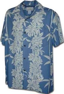 New Mens Slate Colored Hawaiian Aloha Shirt 100% Rayon Poplin Lrg