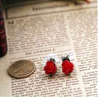 Sweet Rose flower earrings cute ear studs black white red color