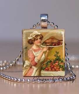 Vintage Thanksgiving Turkey Dinner Scrabble Charm Pendant Necklace