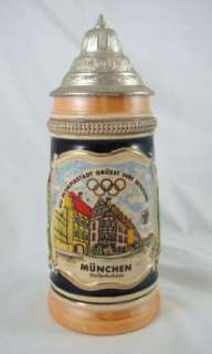 Vintage 1972 Munich Olympic Lidded Lustre Beer Stein Germany