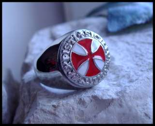 AJS © KNIGHTS TEMPLAR SILVER RING SURGICAL STEEL  D65