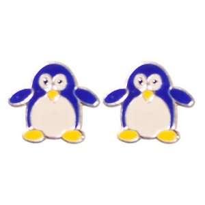 Tomas Sterling Silver Enamel Post Earrings   Blue Penguin Jewelry