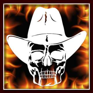 Texas Cowboy Skull 3 airbrush stencil template harley paint