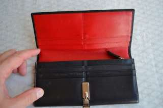 Authentic Coach Black Leather Checkbook Wallet Clutch Coin Purse