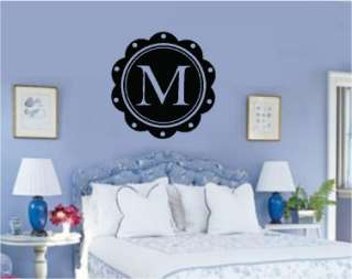 Monogram Letter Vinyl Word Wall Decal Girl Room Decor
