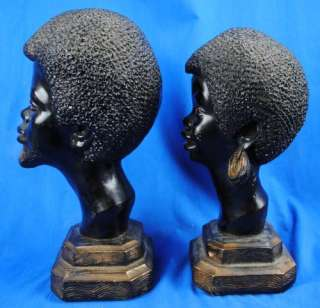 Vintage Man & Women Bust Statues 1960s African American Black Power