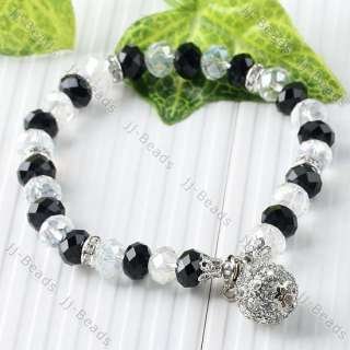 Faceted Clear Black Crystal Glass Dangle Disco Ball Bead Stretch Women