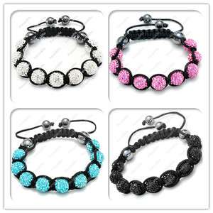 HOT 16 Colors Micro Disco&Crystal Ball Bead Bracelets