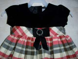 Infant/toddler girls size 18m black/red plaid dress