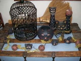 Black Cat Pumpkin Head & Witch Hat Paper Mache Coiled Wire Halloween