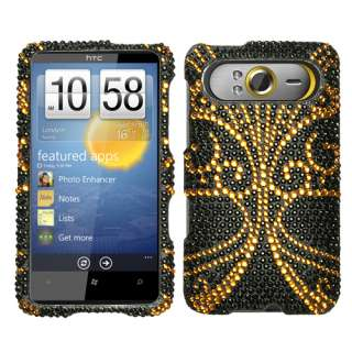 HTC HD7 T MOBILE RHINESTONE CASE BIG BUTTERFLY GOLD