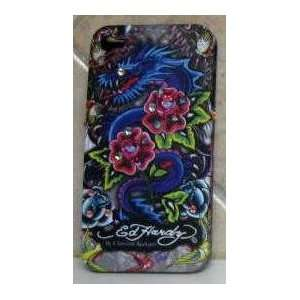 4G CASE ED HARDY ROSE DRAGON TATTOO DESIGN W/ SWAROVSKI CRYSTAL BLING