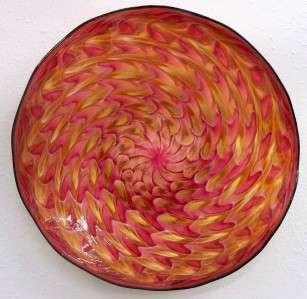 HAND BLOWN GLASS ART WALL PLATTER BOWL PINK ORANGE #2132 ONEIL