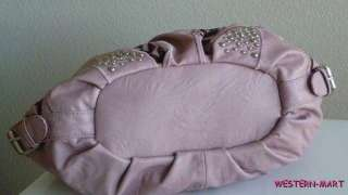 BLUSH PINK BROWN LEAF STUD RHINESTONE BLING HOBO TOTE BUCKLE SHOPPER