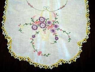 Crochet Yellow Edge Vintage Dresser Scarf Embroidery Hand Embroidered
