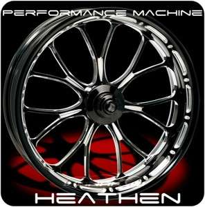 BLACK PERFORMANCE MACHINE HEATHEN FRONT WHEEL & TIRE FOR HARLEY FAT