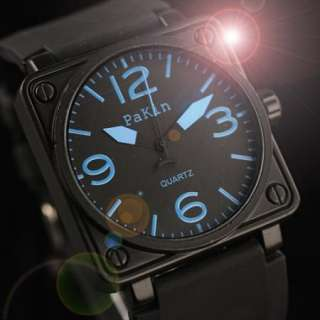 Mens Military Army Sport Quartz Man Black Rubber Blue Dial Mens Boys